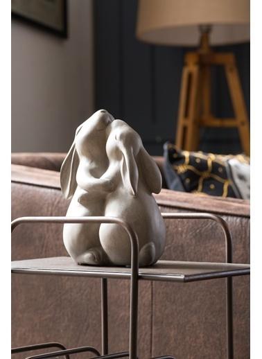 Warm Design Birbirine Sarılan Tavşanlar Dekoratif Obje Gri